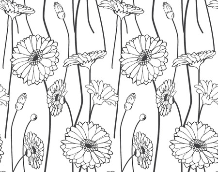 silver backgrounds: Seamless hand drawn wildflower pattern