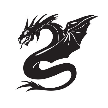 Hand drawn dragon silhouette