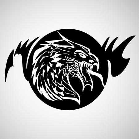 etnia: Dibujado a mano silueta de dragón Vectores