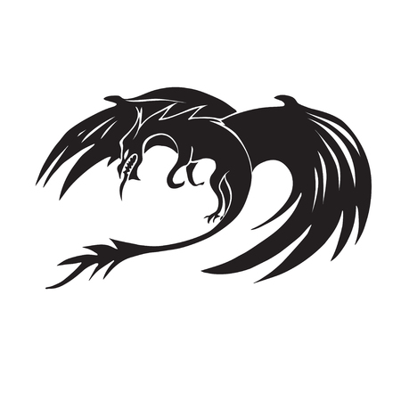 black and white dragon: Hand drawn dragon silhouette