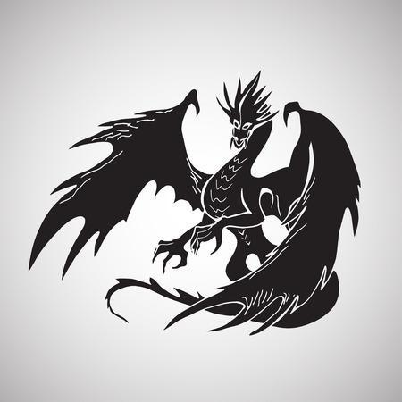 Disegnata a mano drago silhouette Archivio Fotografico - 48302961