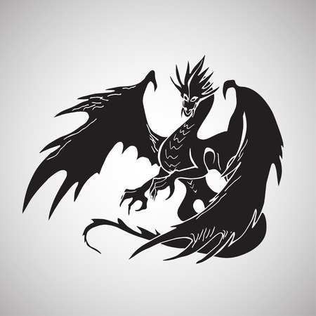 black and white dragon: Hand drawn dragon silhouette