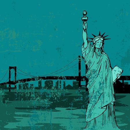 bridge hand: Hand drawn Liberty statue and bridge - vector
