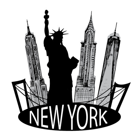 New York famous building and Liberty statue Illustration