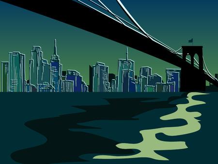 sky scrapers: Hand drawn New York Bridge - vector