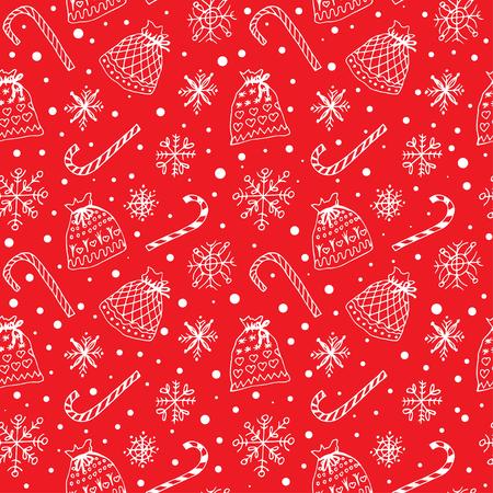 sacks: Winter pattern with snowflakes and present sacks Illustration
