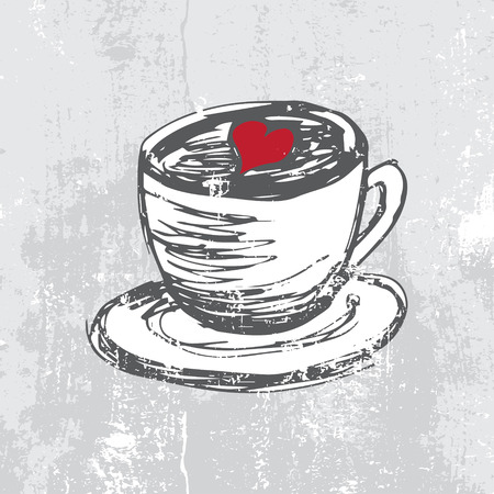 Hand drawn cup with coffee and heart shape Illustration