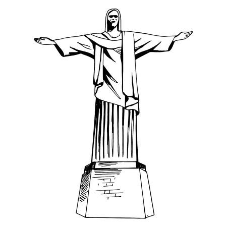 redeemer: Christ the Redeemer hand drawn statue Illustration