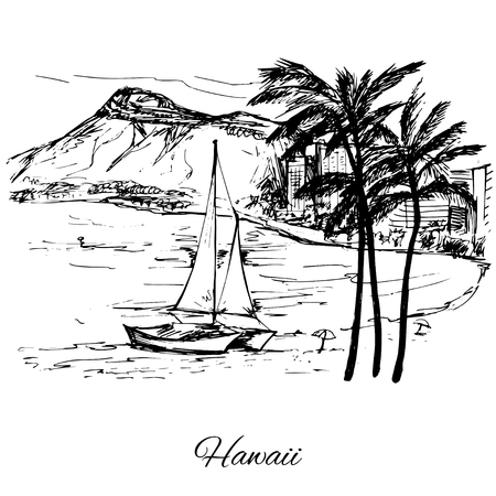 ner: Hand drawn sail ner the island Hawaii