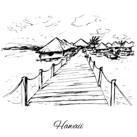 Hand drawn bongalows on Hawaii island