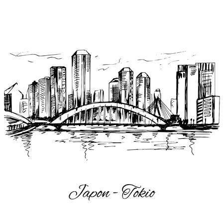 Hand drawn Tokio cityscape scene Illustration