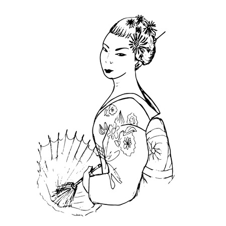 Hand drawn japanese woman with umbrella Vettoriali
