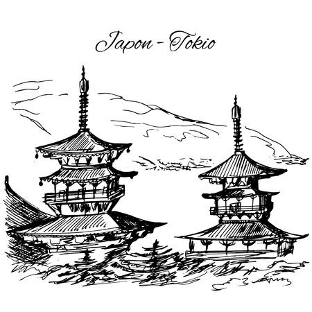 pagoda: Hand drawn japanese multi-storey pagoda scene Illustration