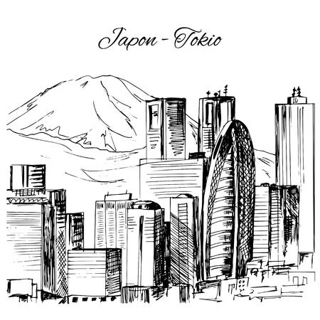 built tower: Hand drawn Tokio cityscape scene Illustration