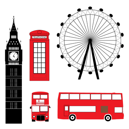 city of london: Set of London Attraction Illustration