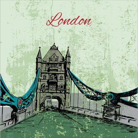 london tower bridge: Hand drawn London Tower Bridge