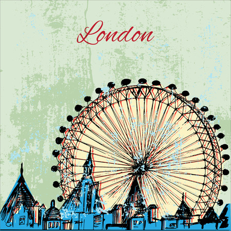 houses of parliament   london: Hand drawn London city with wheel