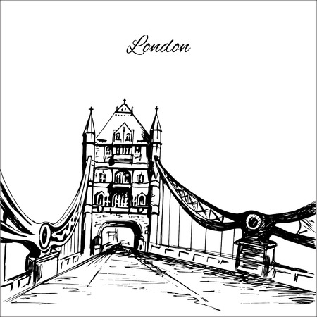 Hand drawn London Tower Bridge