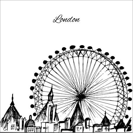 Hand drawn London city with wheel