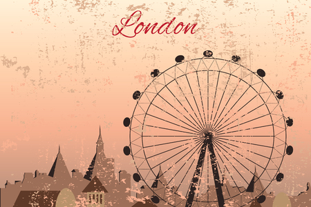 westminster abbey: Hand drawn London city with wheel