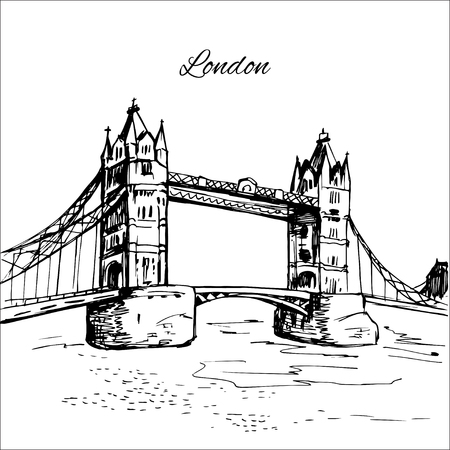 london night: Hand drawn London Tower Bridge