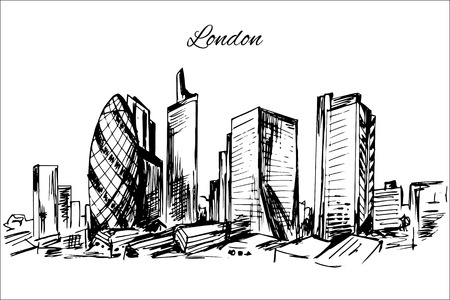 Hand drawn London cityscape