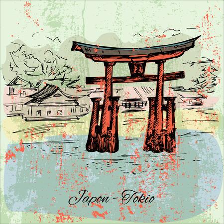 built tower: Hand drawn grunge japanese meiji-jingu scene Illustration