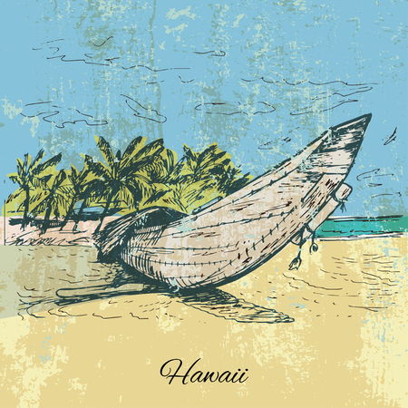 temperate: Hand drawn grunge canoe on the sand