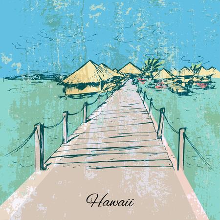 temperate: Hand drawn grunge bongalows on Hawaii island