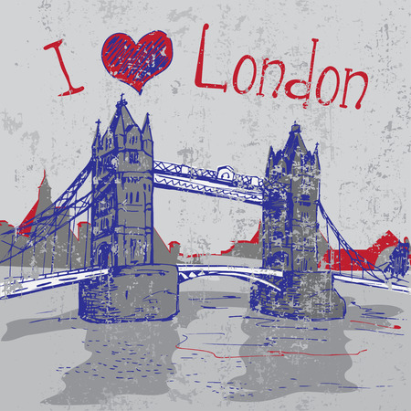 london tower bridge: Hand drawn grunge London Tower Bridge