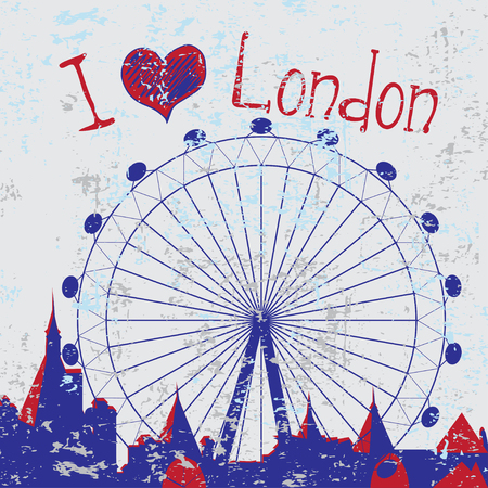 houses of parliament   london: Hand drawn London city card with wheel with text Illustration