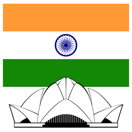 lotus temple: Indian Lotus temple silhouette and flag Illustration