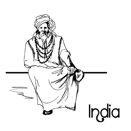 indian old man: Hand drawn indian old man