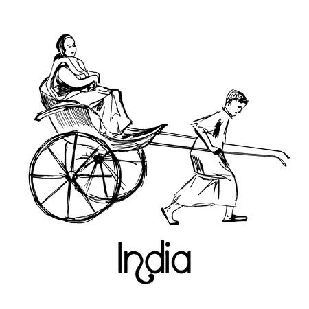 rikscha: Indische Rikscha Taxi Fahrrad Hand gezeichnet