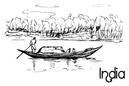 medium group of people: Hand drawn transportation small boat with people Illustration