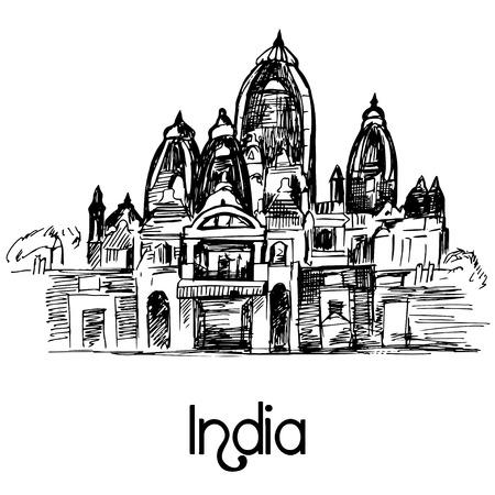 business buildings: ISKCON Temple Delhi hand drawn Illustration