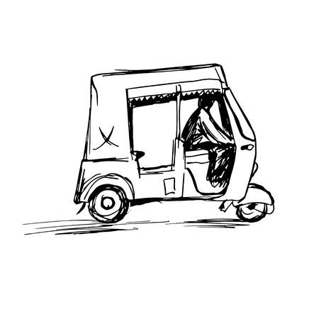 driver: Indian rickshaw taxi hand drawn Illustration