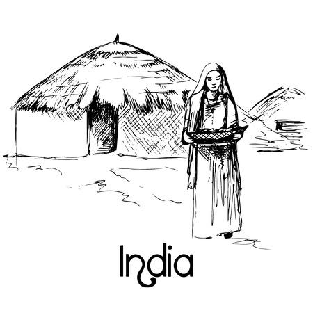 familia orando: Dibujado a mano mujer india con los alimentos Vectores