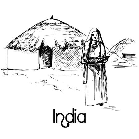 indian traditional: Hand drawn indian woman with food Illustration