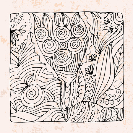Mazzo Di Fiori Vettoriale.Zentangle With Bouquet Of Flowers And Apple Royalty Free Cliparts