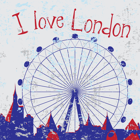 westminster abbey: Hand drawn London city card with wheel with text Illustration