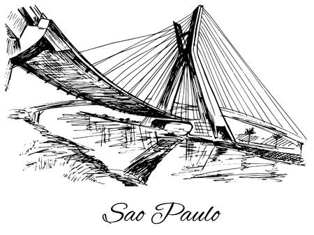 bridge hand: Hand drawn Brazil Sao Paulo bridge Illustration