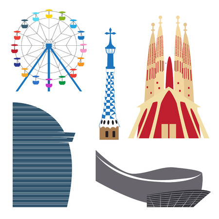 Colorful Barcelona attractions: Sagrada Familia, Ferris wheel and other landmarks