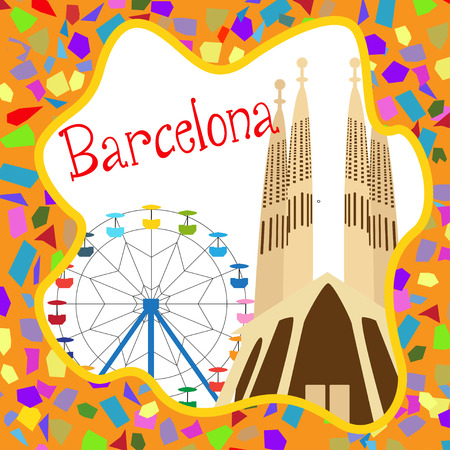 sagrada familia: Colorful Barcelona card with Sagrada Familia and Ferris wheel Illustration