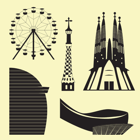 Silhouettes of Barcelona attractions: Sagrada Familia, Ferris wheel and other landmarks Ilustração