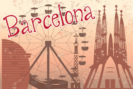 sagrada familia: Colorful Barcelona card with Sagrada Familia, Ferris wheel and other landmarks Illustration