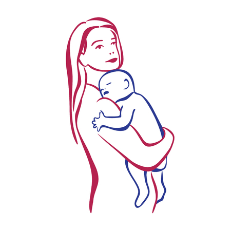 mother and baby: Mother with small baby in the hands