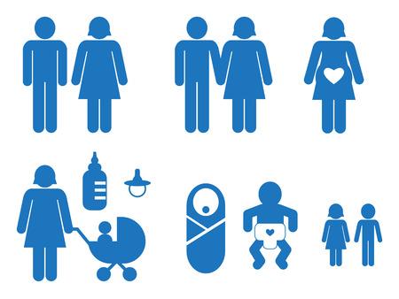 simbolo uomo donna: Set di icone blu di famiglia Vettoriali