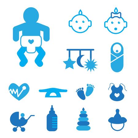 boy feet: Outline Newborn baby blue icons