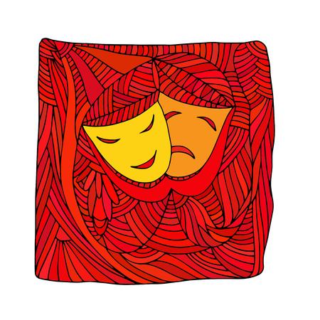 tragedy: Theatre masks tragedy comedy - Illustration, doodle Illustration